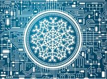 Fondo di ciao-tecnologia di Natale con il fiocco di neve illustrazione di stock