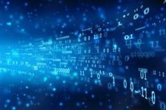 Fondo di codice binario, scorrere numero uno e testo zero nel formato di codice binario nel fondo di tecnologia immagine stock libera da diritti