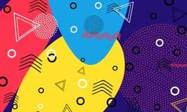 Fondo di colore di Pop art Modello di Memphis delle forme geometriche per il tessuto e le cartoline Illustrazione di vettore Stil illustrazione di stock