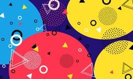 Fondo di colore di Pop art Modello di Memphis delle forme geometriche per il tessuto e le cartoline Illustrazione di vettore Stil royalty illustrazione gratis