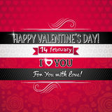 Fondo di colore rosso con il cuore ed il desiderio del biglietto di S. Valentino Fotografia Stock Libera da Diritti