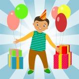 Fondo di compleanno con i bambini felici Fotografie Stock Libere da Diritti