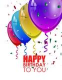Fondo di compleanno con i palloni variopinti Fotografia Stock