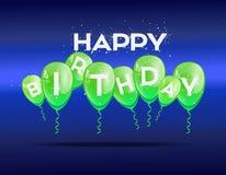 Fondo di compleanno con i palloni verdi Fotografie Stock Libere da Diritti