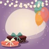 Fondo di compleanno con i presente ed i palloni Immagini Stock Libere da Diritti