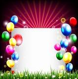 Fondo di compleanno con il posto per la decorazione dell'erba e del testo Fotografie Stock