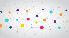 Fondo di comunicazione di colore della rete, rete sociale astratta dell'illustrazione, progettazione piana illustrazione di stock