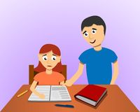 Fondo di concetto di compito del figlio di aiuto dell'uomo, stile del fumetto illustrazione vettoriale