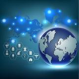 Fondo di concetto dell'innovazione del globo di scienza astratta Fotografia Stock