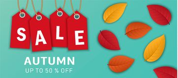 Fondo di concetto dell'insegna di vendita di autunno, stile realistico illustrazione vettoriale