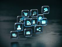 Fondo di concetto della nuvola dell'icona dei apps e del software illustrazione di stock