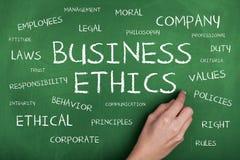 Fondo di concetto della nuvola di parola di etiche imprenditoriali Immagini Stock Libere da Diritti