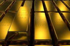 Fondo di concetto di dimensione delle barre di oro tre Fotografie Stock