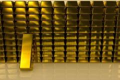 Fondo di concetto di dimensione delle barre di oro tre Fotografie Stock Libere da Diritti