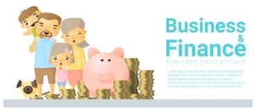 Fondo di concetto di finanza e di affari con i soldi di risparmio della famiglia illustrazione vettoriale