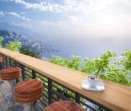 Fondo di concetto di vacanza di viste e dei sedili del mare Fotografia Stock