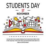 Fondo di concetto di giorno degli studenti, stile del profilo illustrazione di stock