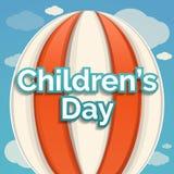 Fondo di concetto di giorno dei bambini dell'aerostato, stile del fumetto illustrazione di stock