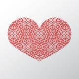 Fondo di concetto di giorno del ` s del biglietto di S. Valentino con il orna del pizzo del ritaglio di origami Fotografie Stock