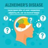Fondo di concetto di malattia di Alzheimers, stile piano illustrazione vettoriale