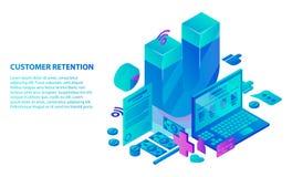 Fondo di concetto di servizio di conservazione del cliente, stile isometrico royalty illustrazione gratis