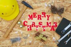 Fondo di congratulazioni di Natale per i lavoratori Fotografie Stock