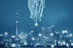 Fondo di connettività di rete di affari dell'ufficio immagine stock