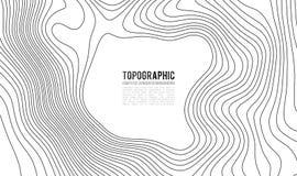 Fondo di contorno della mappa topografica Mappa di Topo con l'elevazione Vettore della mappa di contorno Griglia geografica della illustrazione di stock