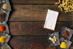 Fondo di cottura creativo Disposizione piana Fotografia Stock