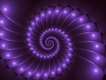 Fondo di Digital Art Glossy Purple Abstract Spiral Illustrazione di Stock