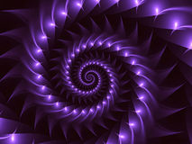 Fondo di Digital Art Glossy Purple Abstract Spiral Fotografie Stock
