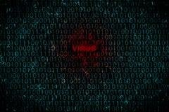 Fondo di Digital con il virus del testo al centro Concetto dell'attacco del pirata informatico ai dati personali del virus Fotografia Stock Libera da Diritti