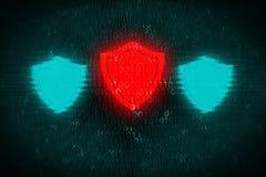 Fondo di Digital con lo schermo rosso al centro Il concetto dell'attacco del pirata informatico e protegge i dati personali sui s Immagini Stock Libere da Diritti