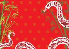 Fondo di disegno di anno del serpente di stile cinese Immagini Stock Libere da Diritti