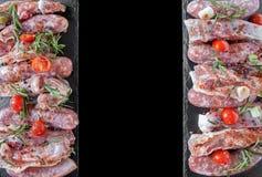 Fondo di disposizione del piano della carne cruda Fotografia Stock