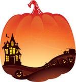 Fondo di doppia esposizione di Halloween con la casa frequentata Fotografia Stock