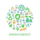 Fondo di ecologia con l'ambiente, energia verde Fotografia Stock