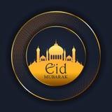 Fondo di Eid Mubarak con la siluetta della moschea illustrazione vettoriale