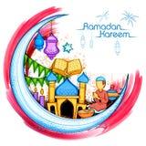 Fondo di Eid Mubarak Happy Eid per il festival religioso di Islam sul mese santo di Ramazan illustrazione vettoriale