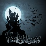 Fondo di ENV 10 Halloween con la luna ed i pipistrelli Immagini Stock Libere da Diritti