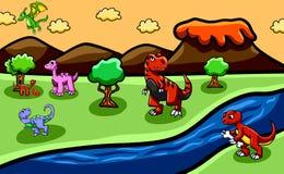 Fondo di era del dinosauro con tutte le specie di dinosauri royalty illustrazione gratis