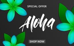 Fondo di estate con i fiori e l'iscrizione di plumeria Aloha per la promozione, sconto, vendita, web illustrazione di stock
