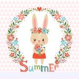Fondo di estate con il coniglietto sveglio Fotografia Stock Libera da Diritti