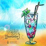Fondo di estate con il mare, sole, nave Royalty Illustrazione gratis