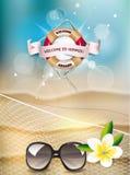 Fondo di estate con la vista della spiaggia, a rete e del fiore Fotografia Stock Libera da Diritti