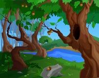 Fondo di estate del fumetto per un'arte del gioco con i vecchi alberi Fotografia Stock