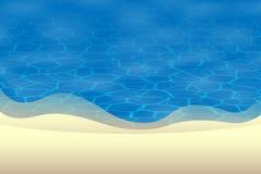 Fondo di estate - la vista davanti alla spiaggia con le sabbie ed acqua sorge Immagine Stock Libera da Diritti