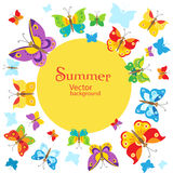 Fondo di estate Progettazione del fondo delle farfalle di vettore Vettore della farfalla Immagini Stock Libere da Diritti