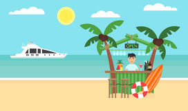 Fondo di estate - spiaggia di tramonto Mare, yacht, barra e una palma Progettazione piana moderna Illustrazione di vettore Immagine Stock