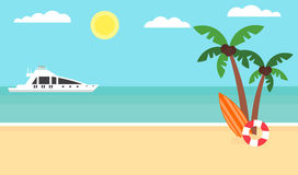 Fondo di estate - spiaggia di tramonto Mare, yacht e una palma Progettazione piana moderna Illustrazione di vettore Immagine Stock